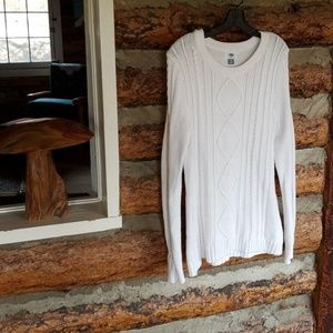 Classic Cream Old Navy Crew Neck CableKnit Sweater